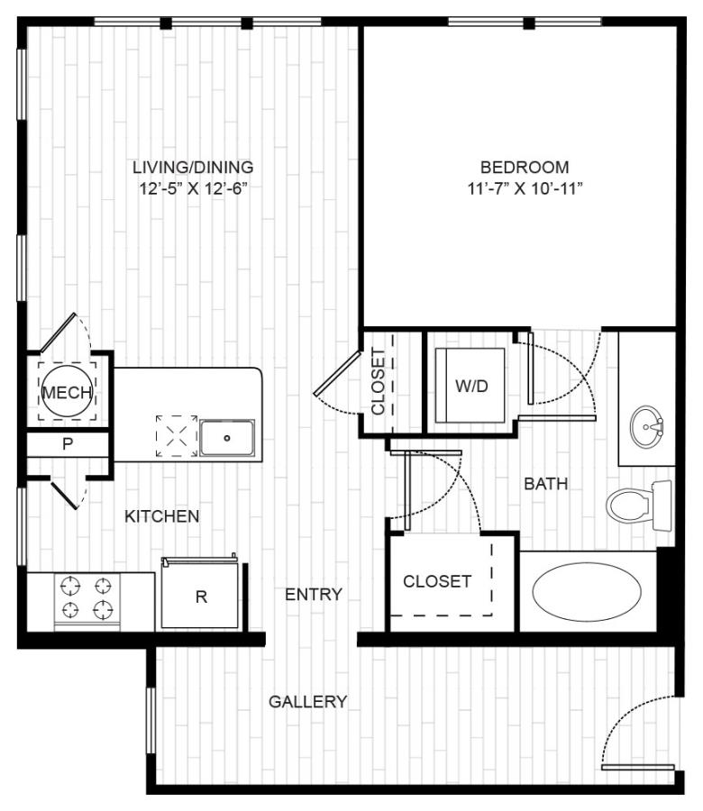 703 sq. ft. A1B floor plan