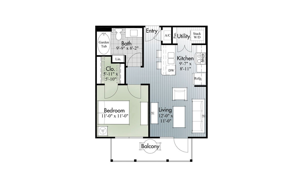 573 sq. ft. A1 floor plan