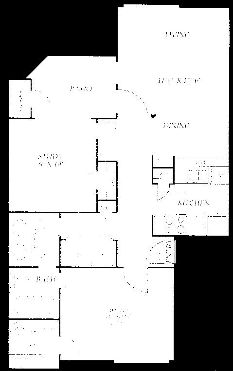 735 sq. ft. D2 floor plan