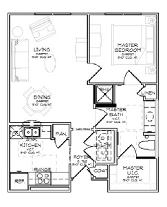 700 sq. ft. A1/60% floor plan