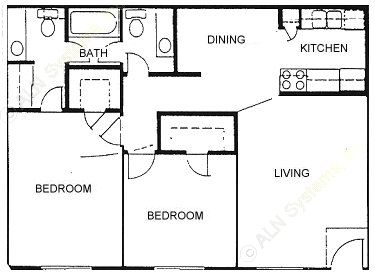 940 sq. ft. B floor plan