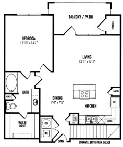 867 sq. ft. Gatwick floor plan