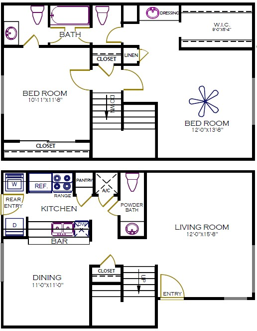 1,232 sq. ft. to 1,250 sq. ft. Willow floor plan