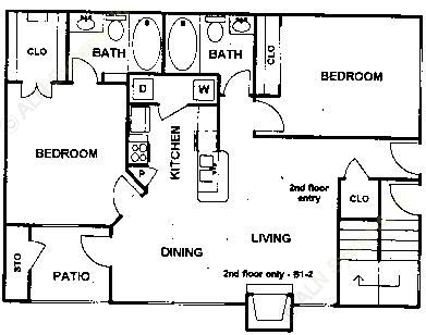 973 sq. ft. Bellot floor plan