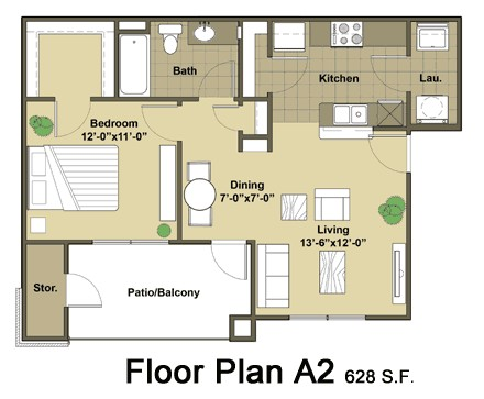 628 sq. ft. Tacoma floor plan