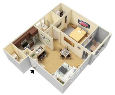 608 sq. ft. A1 floor plan