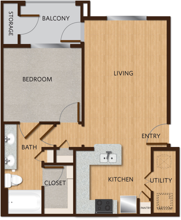 713 sq. ft. A2 floor plan