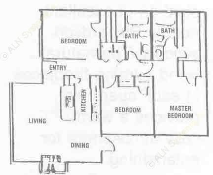 1,114 sq. ft. C-1 floor plan