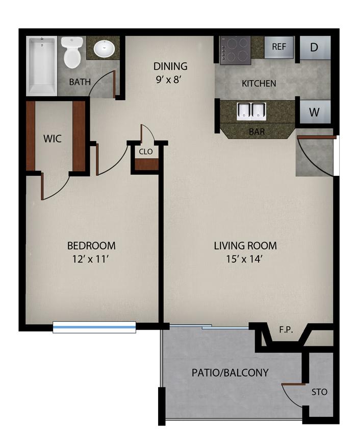 656 sq. ft. Pebble Beach floor plan