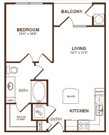 670 sq. ft. A1S floor plan