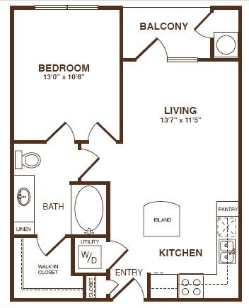 670 sq. ft. A1S floor plan