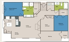 1,359 sq. ft. to 1,373 sq. ft. C1/C1ALT floor plan