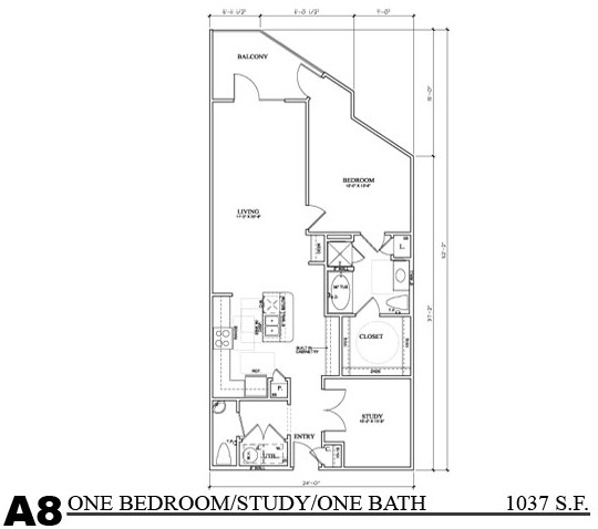 1,037 sq. ft. A8E floor plan