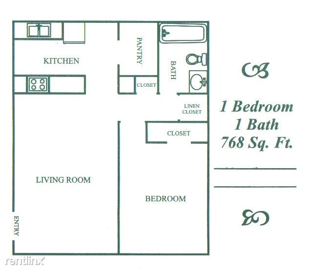 768 sq. ft. A floor plan