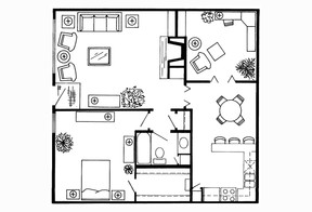 981 sq. ft. B3 floor plan