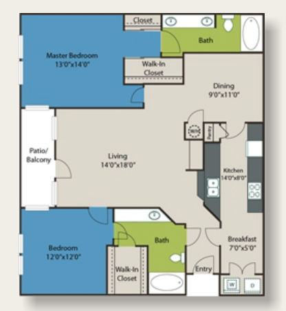 1,397 sq. ft. E2 floor plan