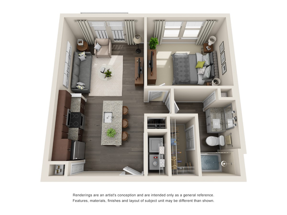 624 sq. ft. A1 floor plan
