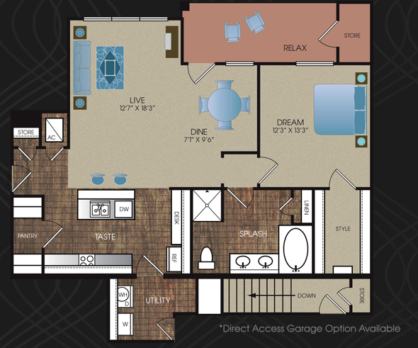 920 sq. ft. to 1,039 sq. ft. A4 floor plan