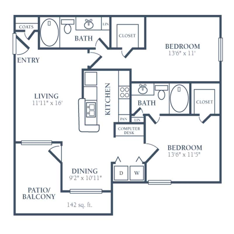 1,040 sq. ft. D floor plan