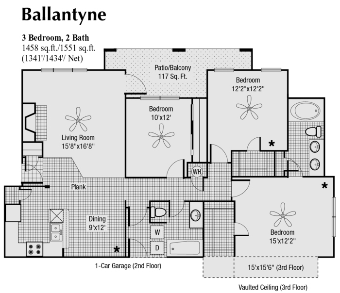 1,434 sq. ft. to 1,551 sq. ft. Q floor plan