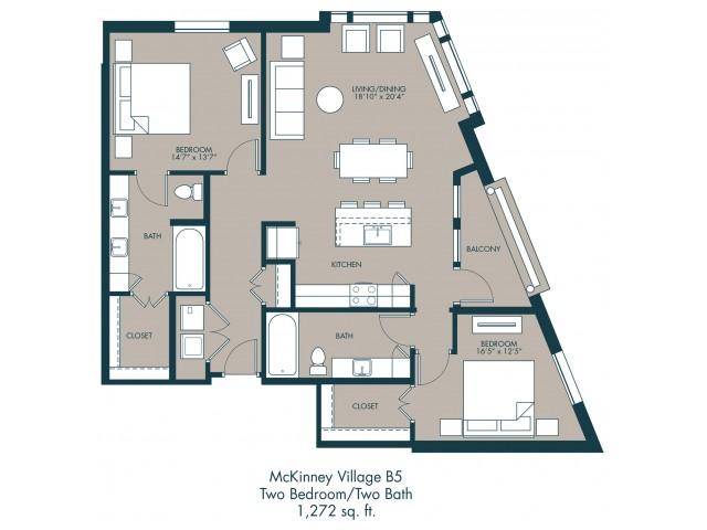 1,272 sq. ft. B5 floor plan