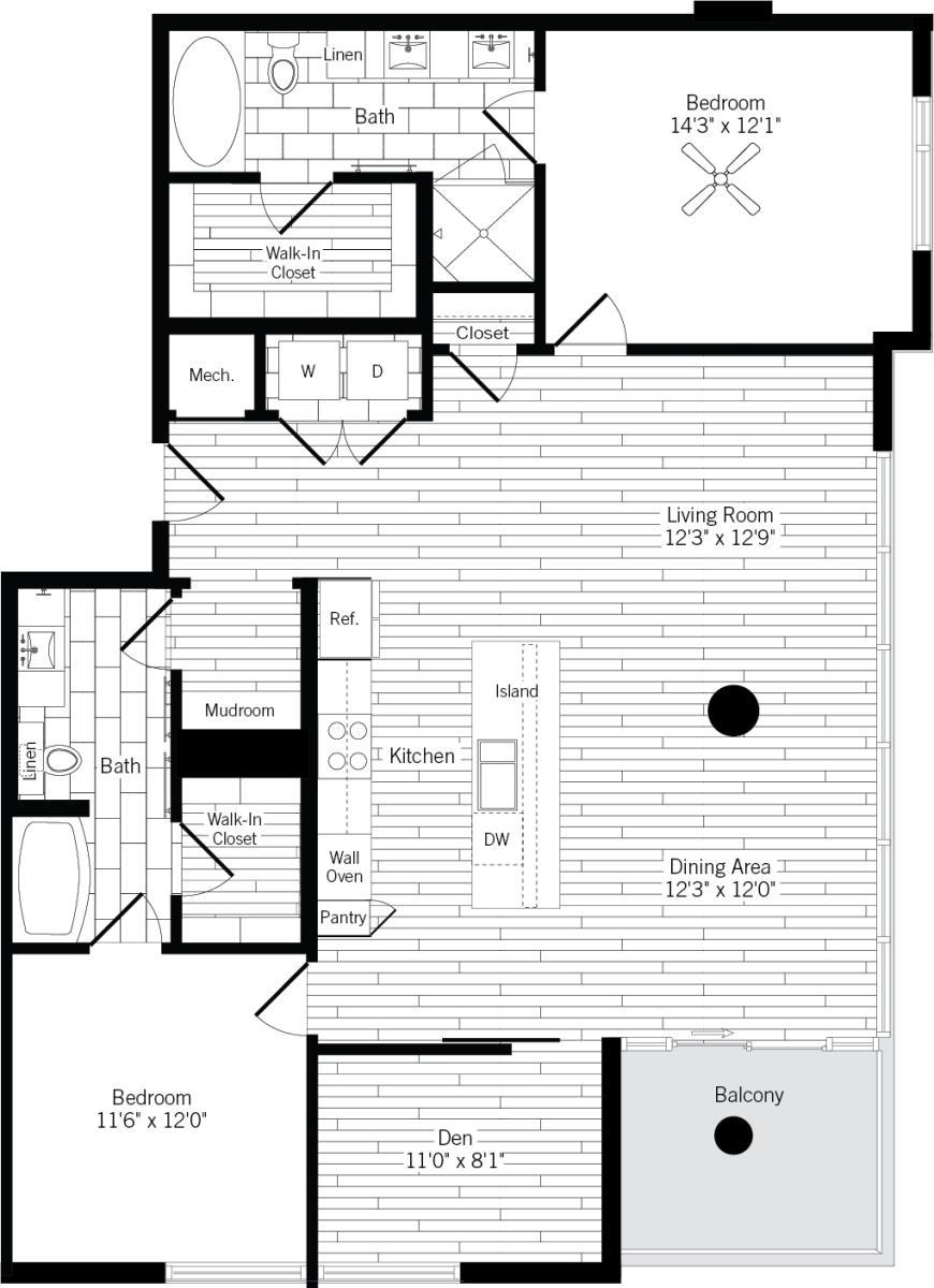 1,466 sq. ft. 2F floor plan