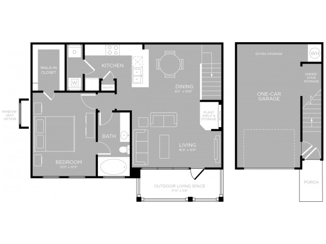 903 sq. ft. to 907 sq. ft. Driskill A7 floor plan