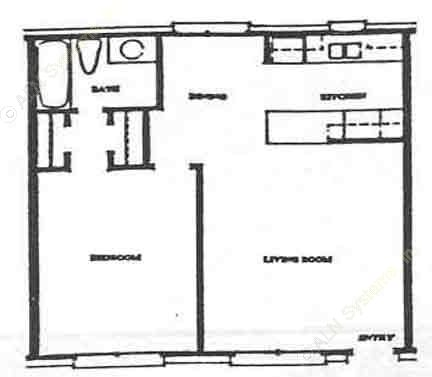 612 sq. ft. A-1 floor plan