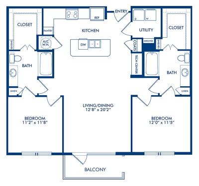 1,165 sq. ft. B3.7 floor plan