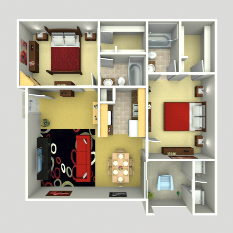 897 sq. ft. C-2 floor plan