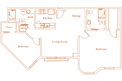 1,122 sq. ft. CAMBRIDGE floor plan