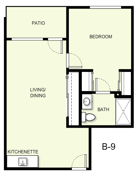 610 sq. ft. B9 floor plan