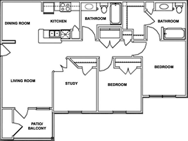 1,070 sq. ft. MKT floor plan
