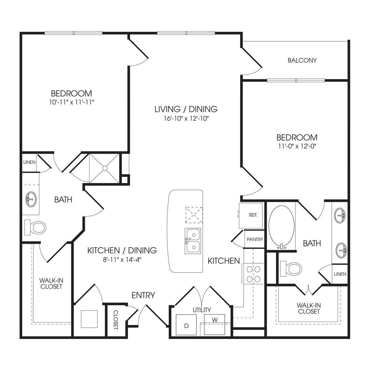 1,047 sq. ft. Notting Hill floor plan