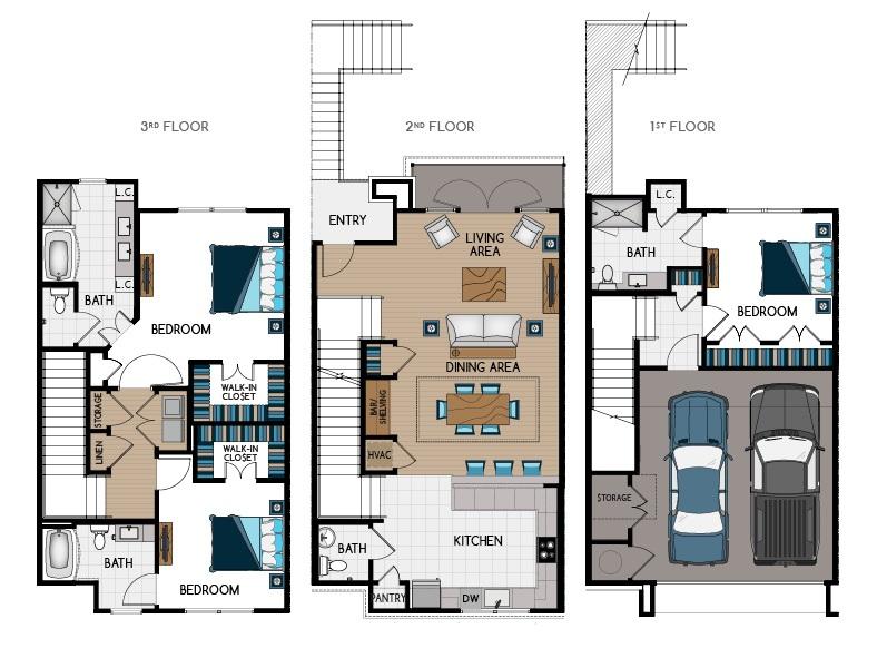 2,173 sq. ft. TH2 floor plan