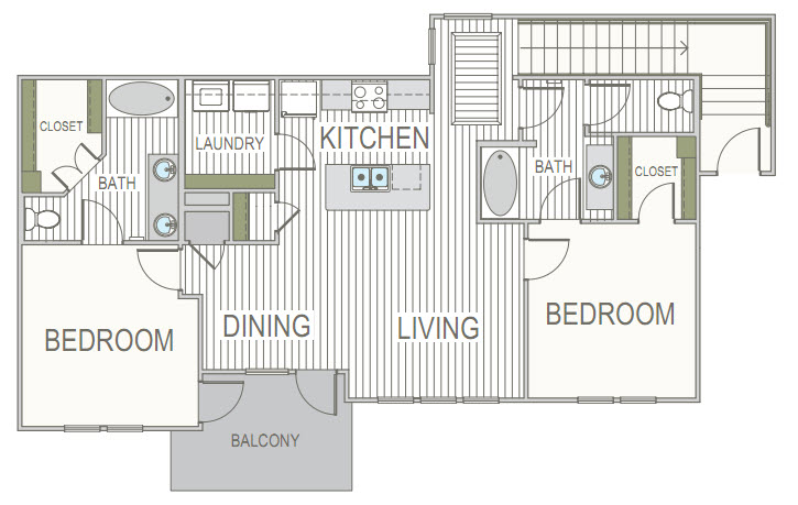 1,136 sq. ft. 2B floor plan
