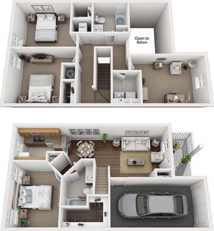 1,360 sq. ft. 50% floor plan