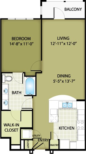 837 sq. ft. TIFFANY floor plan