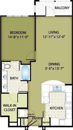 837 sq. ft. TIFFANY floor plan