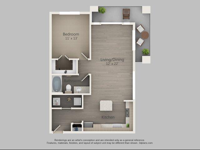 785 sq. ft. Ash floor plan