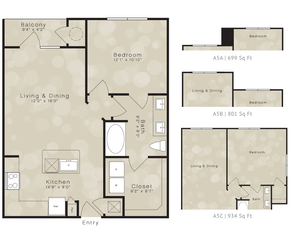 699 sq. ft. A5 floor plan