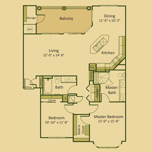 1,320 sq. ft. 2B-FP floor plan