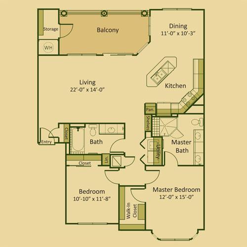 1,320 sq. ft. 2B-FP floor plan