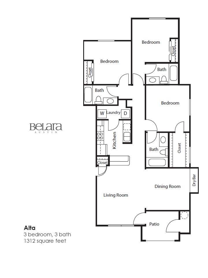 1,312 sq. ft. Alta floor plan