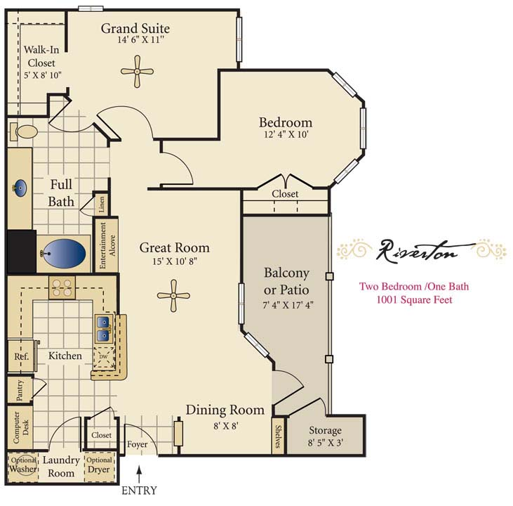 1,001 sq. ft. C floor plan