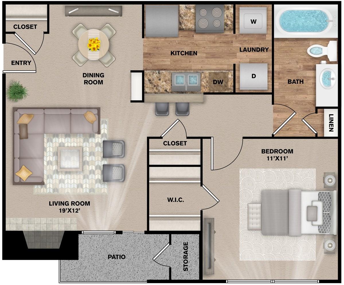 637 sq. ft. A-1 floor plan
