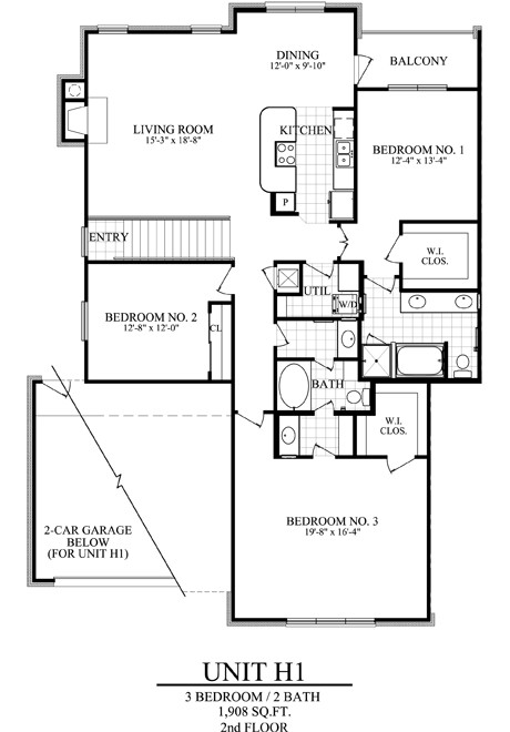 1,908 sq. ft. H1 floor plan