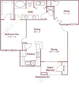 942 sq. ft. A3 floor plan