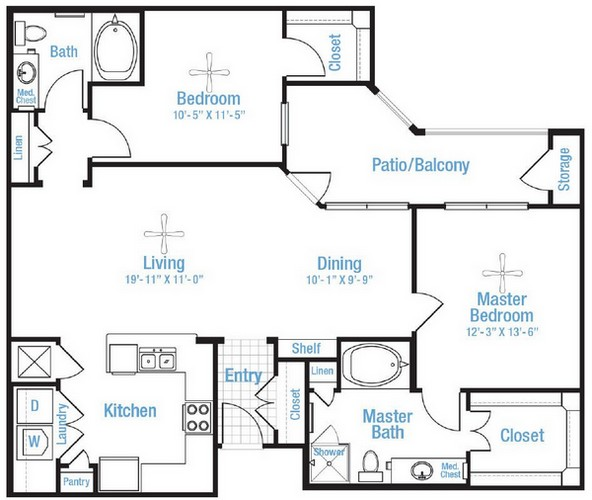 1,216 sq. ft. Preserve floor plan