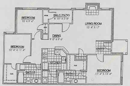 1,211 sq. ft. C3 floor plan